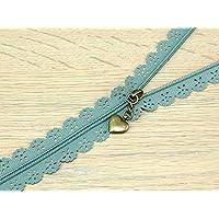 F J Fusion Fancy Lace Reißverschluss mit Antik Messing Abzieher 30cm salbei grün–Pro Zip