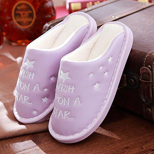 in pu pelle allacqua cotone di Viola DogHaccd femmina pantofole superiore chiaro1 pantofole piscina Resistente pantofole inverno inverno di home spessore uomini incantevole pelle qwTnn8fA
