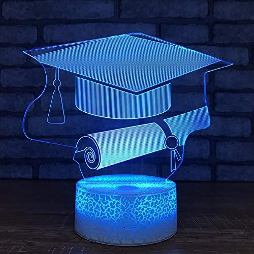 Shuyinju Graduation Gifts Großhandel Bachelor Hut Nachtlichter Usb Led 3D Lampe Kinderzimmer Licht Weiß Basis Schöne 7 Farbwechsel Kinder Lampe