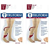 Truform Compression 30-40 Mmhg Thigh High Open Toe Dot Top Stockings Beige, Large, 2 Count