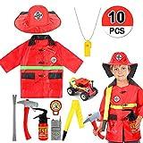 VAMEI Disfraz de Bombero Jefe de Bomberos Juego de rol Traje de Disfraces Conjunto de niños Juegos de fantasía Cosplay Traje de Fiesta Disfraces de Halloween para niños Niños Niñas