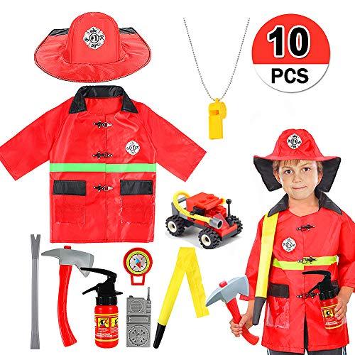 (VAMEI Kinder Kostüm Feuerwehr Feuer Chief Rolle Spielen Kostüm Dress-Up Set Kinder vorgeben Spielen Cosplay Party Outfit Halloween Kostüme für Kinder Jungen Mädchen)