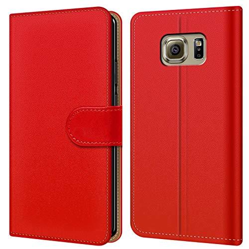 Conie BW34666 Basic Wallet Kompatibel mit Samsung Galaxy S6 Edge, Booklet PU Leder Hülle Tasche mit Kartenfächer und Aufstellfunktion für Galaxy S6 Edge Case Rot