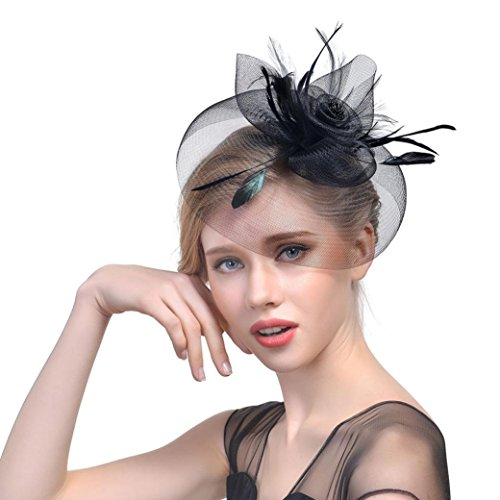QUINTRA 2018 Women Flower Mesh Ribbons Feathers Headband Cocktail Tea Party Hat Headwear
