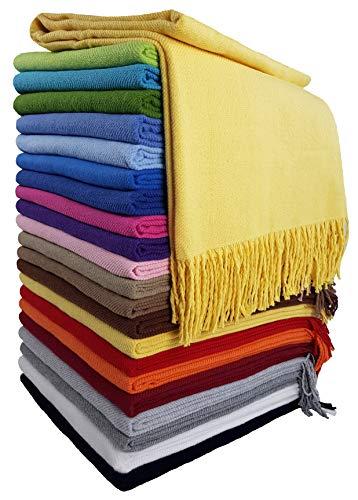 STTS International Baumwolldecke Wohndecke Kuscheldecke Tagesdecke 100% Baumwolle 130 x 170 cm sehr weiches Plaid Rio (Gelb)