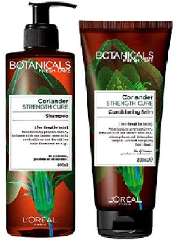 (Lot de 2) l'oréal Paris Botanicals Coriandre Force Cure Shampooing X 400 ml & l'oréal Paris Botanicals Coriandre Force Cure Conditionneur Baume X 200 ml Cheveux Fragiles