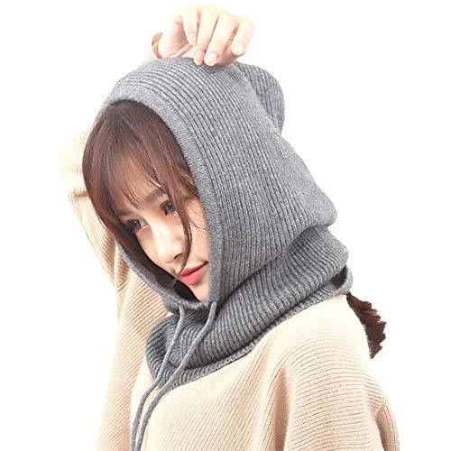VRTUR Baggy Winter Warm Hüte Häkeln Hut-Schal integrierte Kopfbedeckung Lätzchen Strickmütze Kappen Unisex Mütze