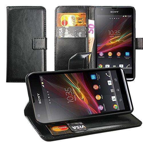 Original Lanboo® Wallet / Buch Tasche mit Magnetverschluss für Sony Xperia SP - M35H, C5302- Schwarz - Mlc Tasche