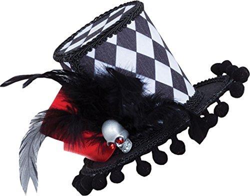 Erwachsene Halloween Harlekin Schädel Mini hoch Hut Kostüm Hofnarr Zubehör