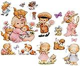 Unbekannt 16 TLG. Set _ Wandtattoo / Sticker + Fensterbilder -  Morehead - Kinder & Tiere  - Wandsticker + Fenstersticker - Aufkleber für Kinderzimmer - Tier Baby - K..