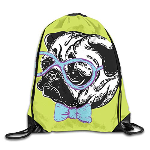 Pug Duvet Cover Set Twin Size, Cute Dog With A Bow Tie And Nerdy Glasses On Green Shade Backdrop,Apple Green Pale Blue Lavender_2Gym Bag