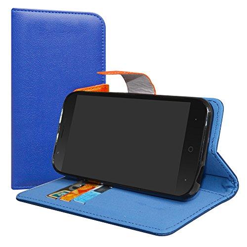 LiuShan Vodafone Smart N8 Hülle, Brieftasche Handyhülle Schutzhülle PU Leder mit Kartenfächer & Standfunktion für Vodafone Smart N8 Smartphone (mit 4in1 Geschenk verpackt),Deep Blue