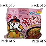 Samyang Hot Chicken Ramen Noodles Carbo (Italian Pasta Flavor) 130 GMS (Pack Of 5)