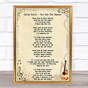 Calum Scott You are The Reason Song Lyric Quote Print
