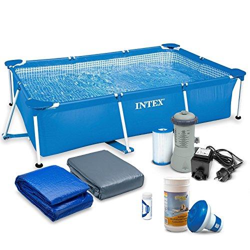 7in1 Set Rectangular Frame Pool 260 x 160 x 65cm mit Filterpumpe 2271 Liter / Stunde INTEX 28271