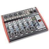 Power Dynamics Profi PA und Bühnen-Mischpult Mikrofon Musik und Licht 6-Kanal Mixer (USB, XLR, AUX, 48V für Kondensatormikrofone, MP3-Bediensektion) schwarz