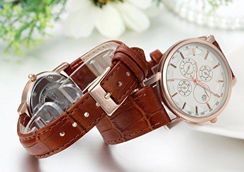 JewelryWe 2pcs Herren Damen Freundschafts Armbanduhr, Business Casual Kalender Analog Quarz Uhr für Lieben Valentinstag Paar Paare Geschenk, Braun Leder Armband & Rose Gold Uhrgehäuse