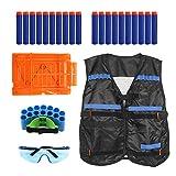 QiGui Kinder Elite Taktische Weste Jacke Kit Für Nerf Spielzeug Pistole N-Strike Elite Serie 1 Taktische Weste, 1 Schutzbrille, 1 Schnell Reload Clips,1 Bullet Handgelenk,20pcs blau Schaumstoff Darts