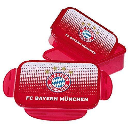 FC Bayern München Brotdose / Lunchbox / Frühstücksbox / Vorratsdose 2er Set plus gratis Aufkleber...