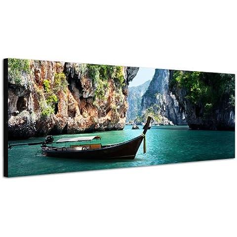 Imagen panorámica sobre lienzo y bastidor 120x 40cm Tailandia Puente Mar Barco Rocas