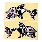 Sharplace 2er-Set Boot Aufkleber, Autoaufkleber Fisch Skelett Dekoration Sticker Aufkleber - Schwarz Rot L