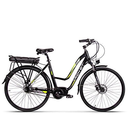 eBike_RICHBIT RLH-920 Bicicleta eléctrica Modern City ebike Ciclismo 48V 250W Bafang Brushless Motor Incorporado, 7.8AH, Negro y Verde ebike