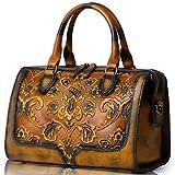 APHISONUK Designer Damen Prägedruck Lederhandtasche Satchel-Tasche Henkeltasche