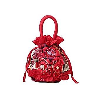 AJUSEN Frauen Elegante Blumenspitze-Abend-Abschlussball-Handtaschen-Geldbeutel-Einkaufstasche (rot)