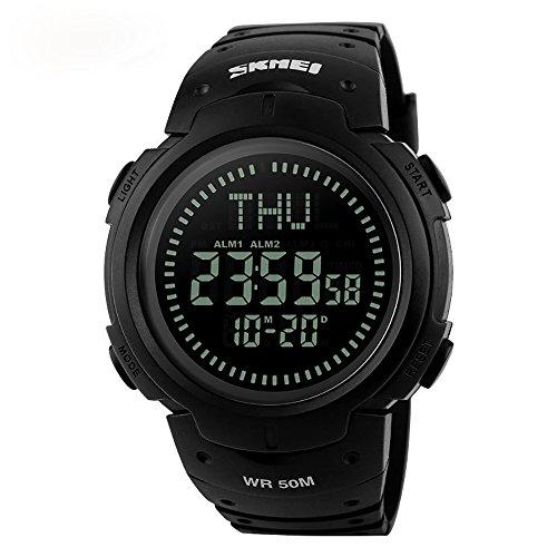 Outdoor Uhr mit Kompass Militäruhr Digital Armbanduhr Wasserdicht Schwarz