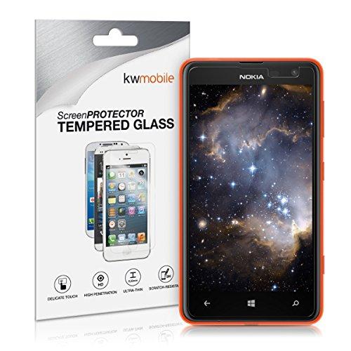 kwmobile Nokia Lumia 625 Folie - Glas Handy Schutzfolie für Nokia Lumia 625 (kleiner als das Bildschirm)