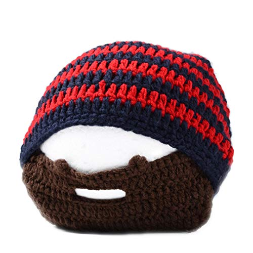 Mens Color Cool Punk warme Winter Stricken häkeln Bart Beanie Schnurrbart Gesichtsmaske Ski Schnee wärmer Hut Cap M048 Red Stripe one Size