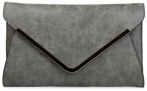 styleBREAKER Envelope Clutch, Abendtasche im Kuvert Design mit Schulterriehmen und Trageschlaufe, Damen 02012047, Farbe:Dunkelgrau -