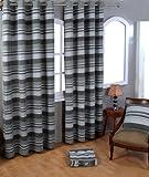 Homescapes handgewobener Vorhang Morocco grau 2er Set Ösenvorhang 140 x 140 cm (Breite x Länge) Dekoschal gestreift 100% reine Baumwolle
