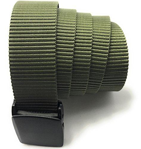 yacn Outdoor Taktik Nylon Web elastischer Gürtel mit Kunststoffen Schnalle Quick Dry 3,8cm breit und 119,4cm lang grün grün xl (Woven Black Belt Leather)