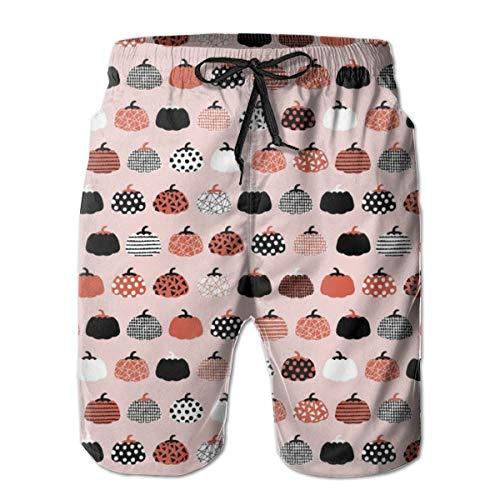 Herbst Frucht geometrische Kürbis Design skandinavischen Stil Halloween Print Pink Orange_306Herren Sommer Strand Shorts, 2XL,Bunter, langlebiger Polyester-Surf-Skate-Strand -