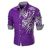 Sommer-dünne Männer Herren Tops Long Sleeve Printed Shirt Bluse GreatestPAK Tops,Lila,L