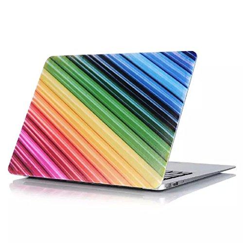 Se7enline Sanfte Schutzschale, Kunststoff, mit schwarzem Tastaturschutz aus Silikon und transparenter Displayschutzfolie, Design: schwarze Kreise, für Macbook Colorful Pencil