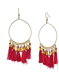 Zephyrr Lightweight Black Tassels Beads Hook Dangler Hanging Earrings For Women and Girls