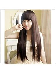 Cool2day New Fashion Tête Frange Complet Perruques droite brun moyen perruque résistant à la chaleur