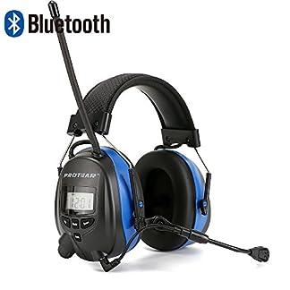 PROTEAR Protección auditiva Bluetooth / Radio AM / FM, orejeras de seguridad para la protección auditiva con micrófono boom, orejeras de seguridad con reducción de ruido electrónico SNR 30dB