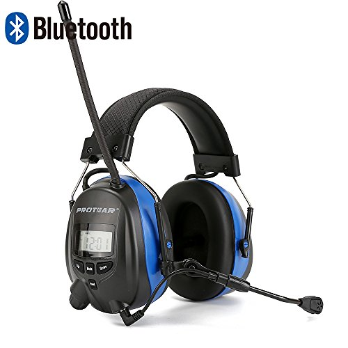 PROTEAR Gehörschutz mit Bluetooth,Boom Mikrofon & Radio AM/FM Gehörschutzer,für Industrie,BAU und Mähen Lärmreduzierung,SNR 30dB - Abs 4-steuerelemente