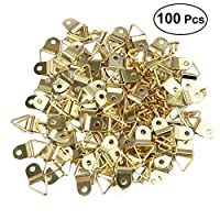 Uteruik Small Triangle D-Ring Picture Frame Hangers Single Hole with Screws 100 PCS