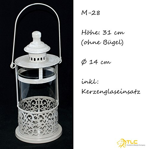 TLC Laterne - Windlicht 31 cm, Glas Metall grau gebrushed, chabby chic, Vintage NEU M-28 (31 cm)