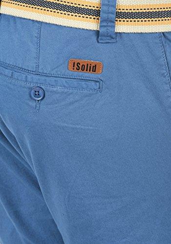 SOLID Lagos Herren Chino-Shorts kurze Hose Business-Shorts mit Gürtel aus hochwertiger Baumwollmischung Federal Blue (1414)