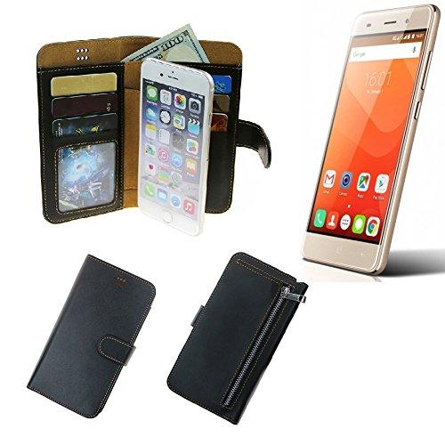 K-S-Trade® Für Haier Leisure L56 Schutz Hülle Portemonnaie Case Phone Cover Slim Klapphülle Handytasche Schutzhülle Handyhülle Schwarz Aus Kunstleder (1 STK)