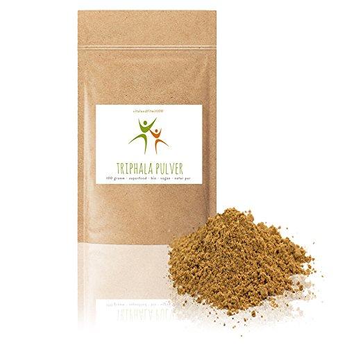 Bio Triphala Pulver   100 g   zertifiziert   aus Amalaki, Haritaki, Bibhitaki   Superfood   Rohkostqualität   100% BIO, vegan + pur   OHNE Hilfs- u. Zusatzstoffe (Amalaki-kraut-pulver)