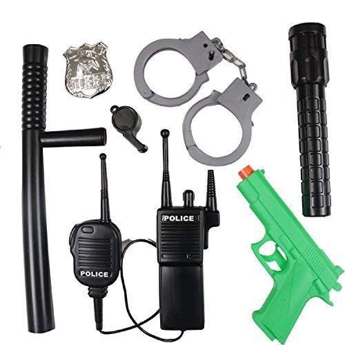 Fancy Me Jungen Mädchen 7 Stück Polizist SWAT Kostüm Set Zubehör Spielzeug Geschenk Pistole Baton Walkie-Talkie Orden handschelllen Whistle Torch