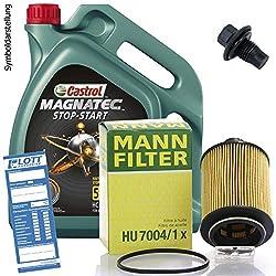 Ölwechsel Set Inspektion 5L Castrol Stop Start C3 5W-30 Öl Motoröl + MANN Ölfilter + Öl Ablassschraube Verschlussschraube