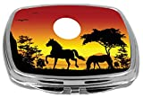 Rikki Knight Compact Mirror, Horse Silhouette On Orange Sky