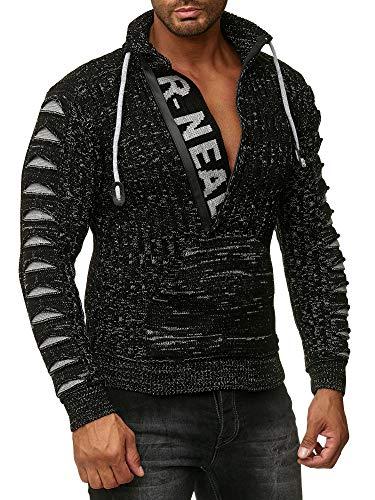 Rusty Neal Herren Strick-Pullover Strickjacke mit Kapuze Gr. S bis 4XL RN-13277, Größe:L, Farbe:13328 Schwarz